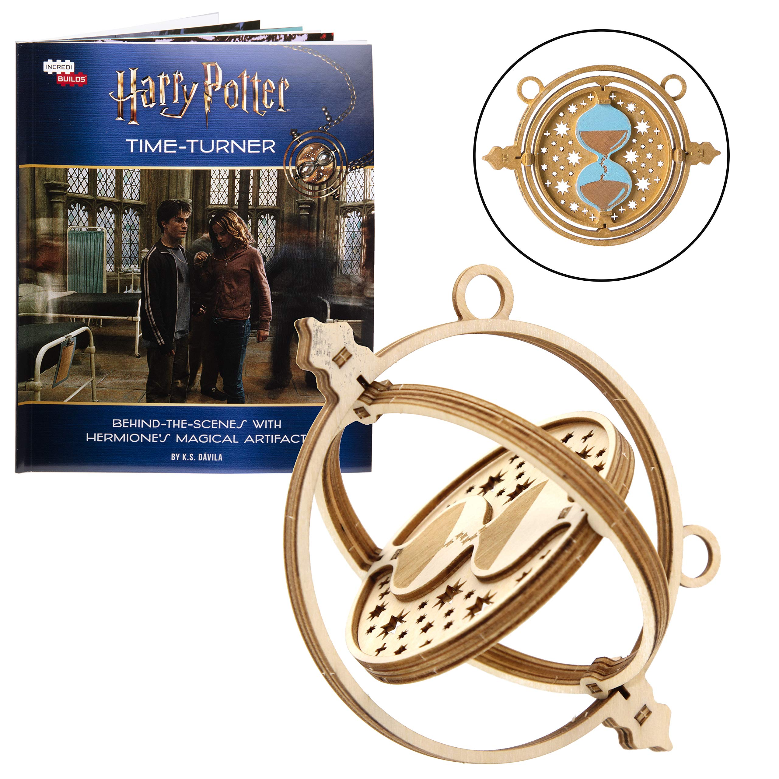 """Harry Potter Time Turner Book and 3D Wood Model Figure Kit - Build, Paint and Collect Your Own Wooden Movie Toy Model - for Kids and Adults, 8+ - 4.25"""""""