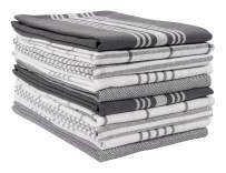 KAF Home Soho Kitchen Dish Towel Set of 10 | 18 x 28 Inch Tea Towels | Soft and Absorbent Mixed Set of Flat Towels (Charcoal)