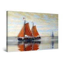 "Startonight Canvas Wall Art Abstract - Orange Sailboats on The Mirror Sea Painting - Artwork Print for Bedroom 24"" x 36"""