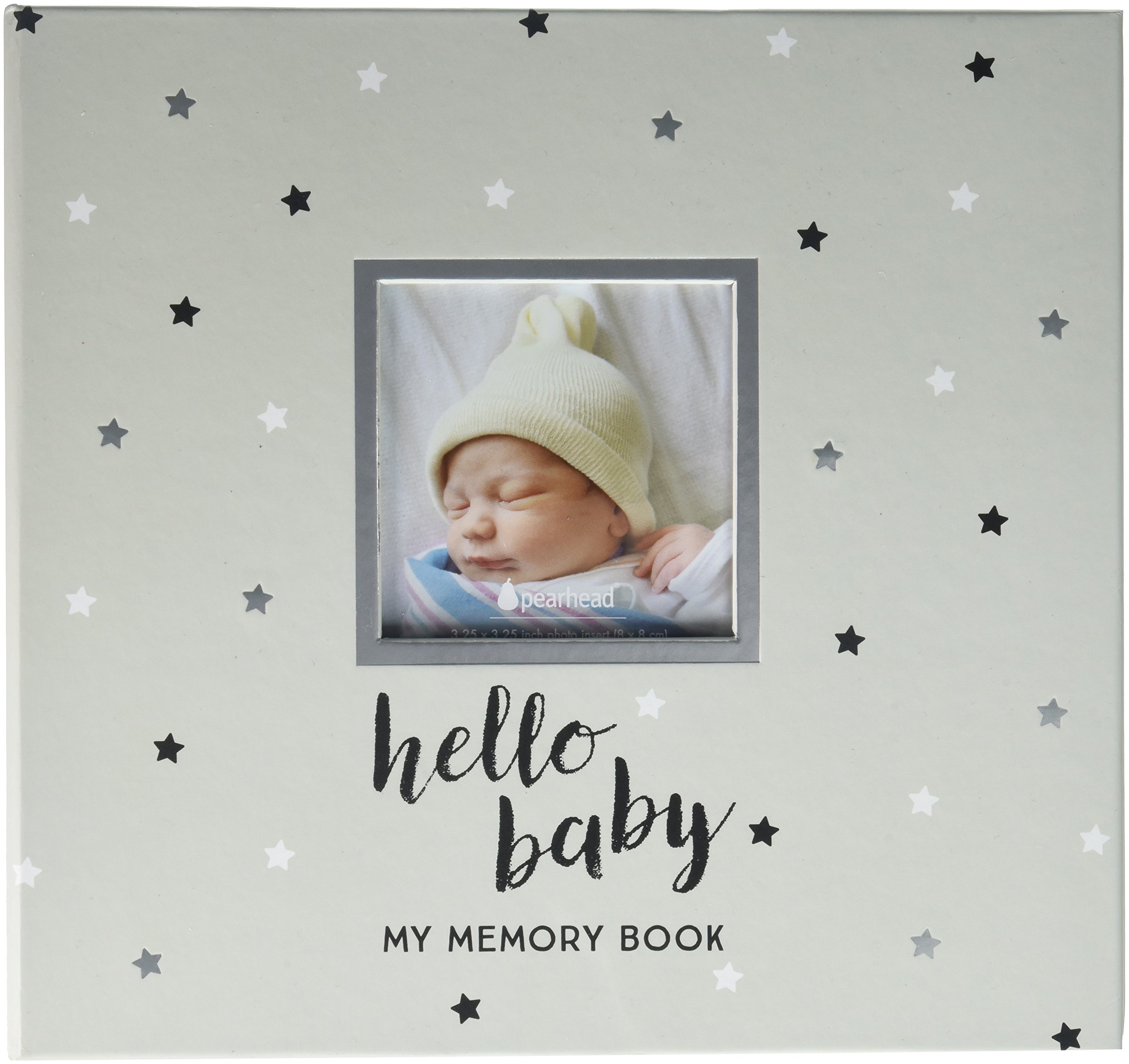 Pearhead Hello Baby, Baby Memory Book with Included Baby Belly Stickers, Cherish Every Precious Moment Of Your Babys First Years, A Great Baby Shower Gift for Expecting Parents, Black and White Stars