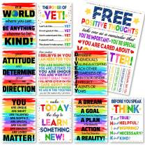 Whaline 10 Pack Motivational Classroom Posters, Rainbow Color Inspirational Quotes Posters, Waterproof Classroom Wall Arts for Students Teachers Classroom Decorations, 12 x 16 Inch