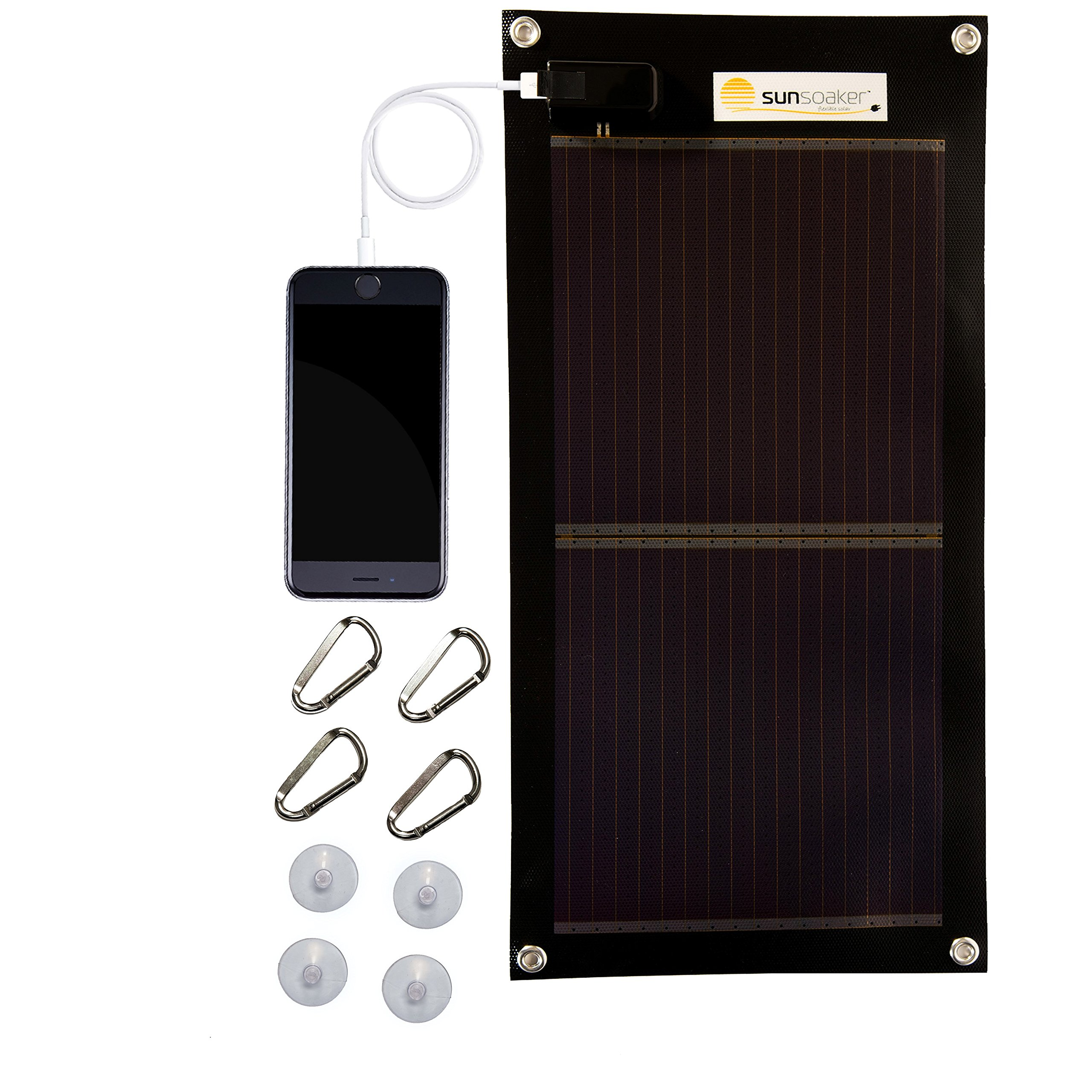 Sunsoaker Solar Charger: Flexible Solar Panel + Solar Phone Charger for iPhone Android Tablets & Other Electronic Devices - 5w