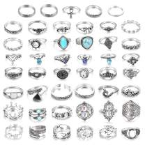 LOLIAS 46 Pcs Vintage Knuckle Ring Set for Women Girls Stackable Rings Set Hollow Carved Flowers