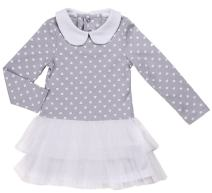 Baby Dress Tutu Outfit- Infant Girl Casual Tulle Dresses- Long Sleeve, Gray