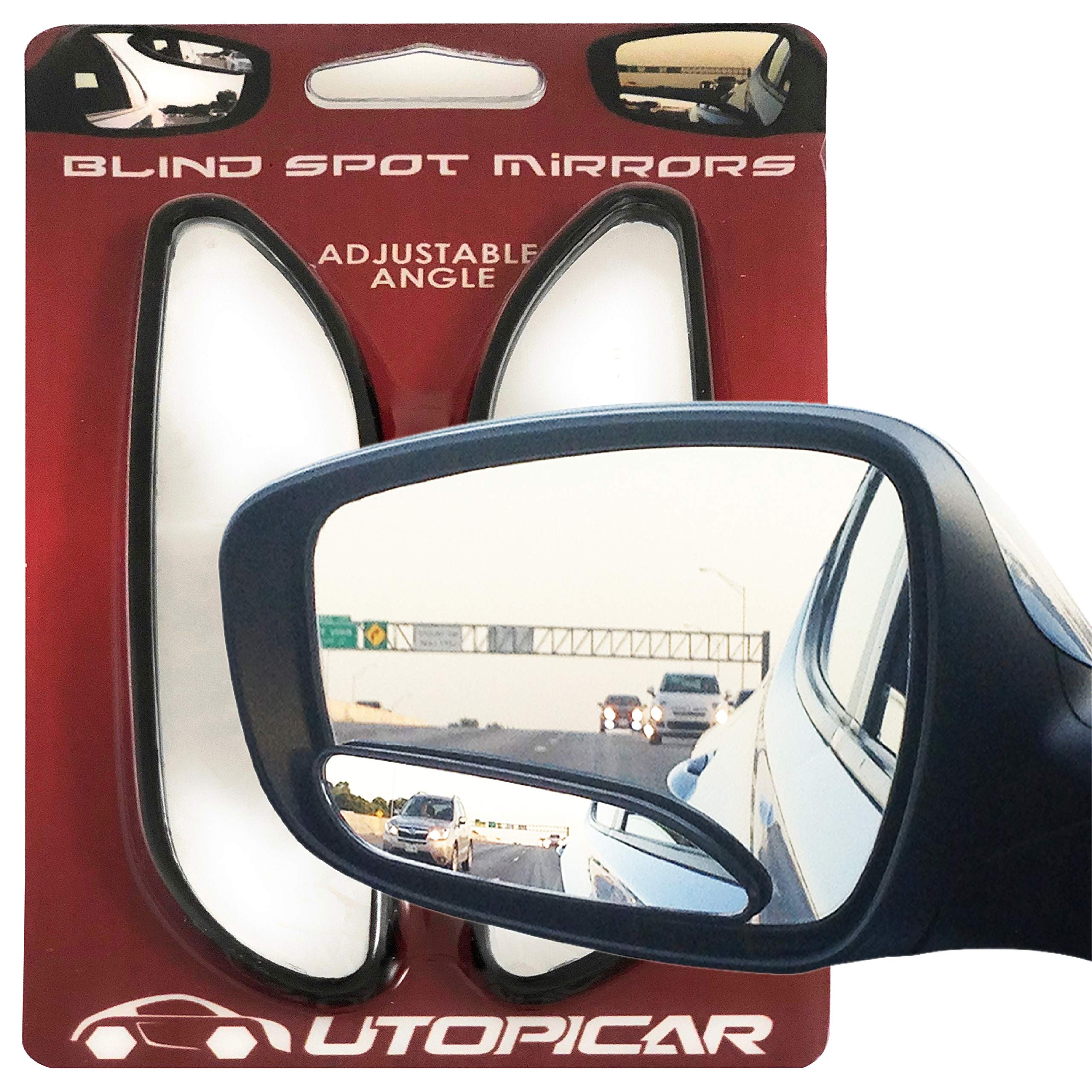Blind Spot Mirrors Long Design Car Mirror for Blindspot by Utopicar Car Accessories | Automotive Rear View Door Mirrors | Stick-on mirror (2pack)