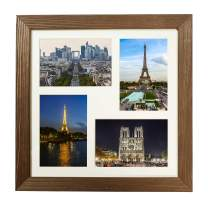 WOOD SIDE ORBIS Rustic Wooden Square Collage Photo Frame 12x12 inch – Made to Display Four (4) 4x6 inch Pictures with Mat for Wall Hanging - Brown Wenge