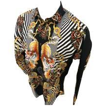 Men's Premiere Designer Fashion Dress Shirt Casual Shirt Woven Short Sleeve Button Down Shirt (3XL, Black & Gold Tiger)