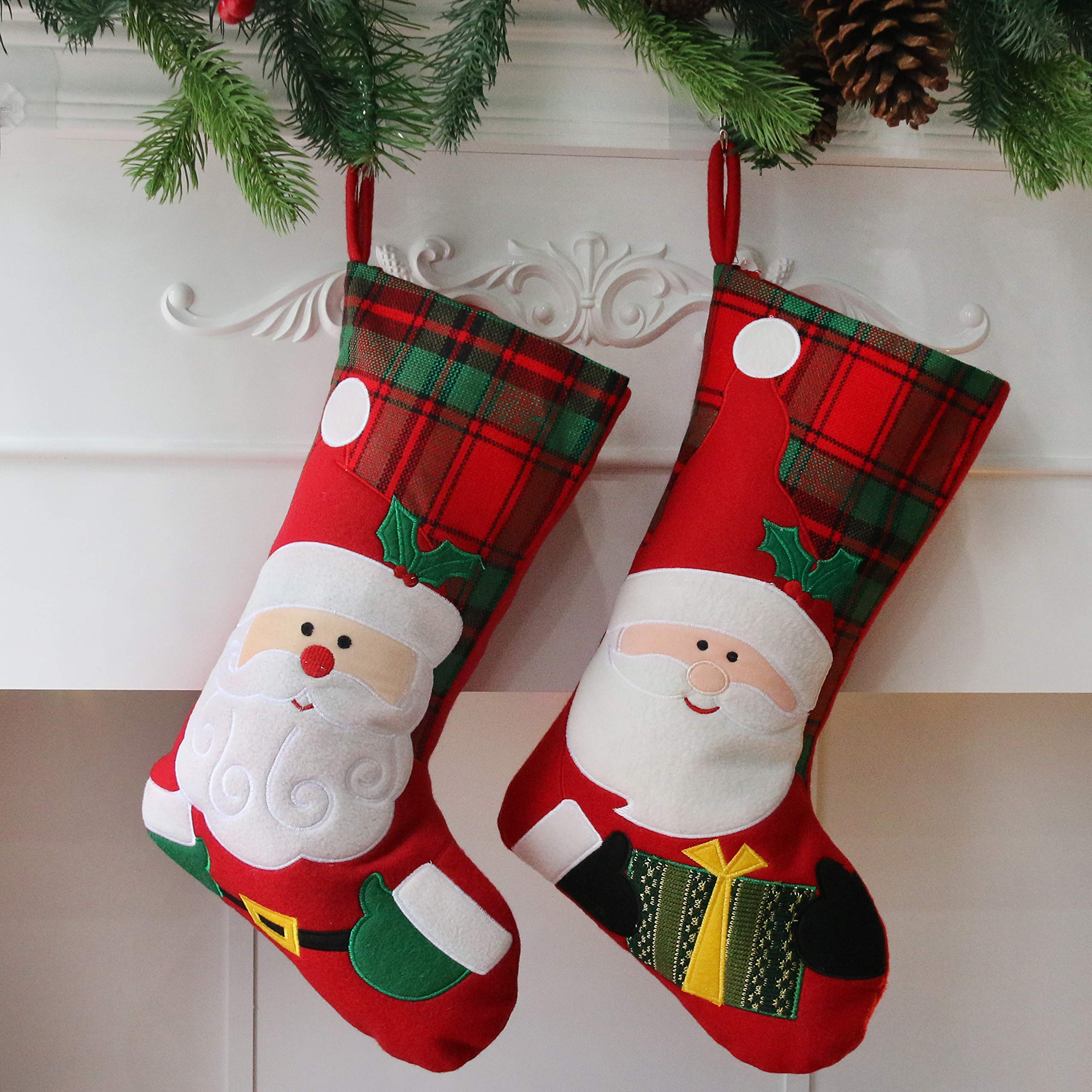 Houwsbaby 2 pcs Christmas Stockings Kit Santa Claus Felt Socks Decoration Tartan Holders Hanging Party Accessories, Red, 18 inches