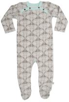 Finn + Emma Organic Cotton Footie for Baby Boy or Girl – Elephant, 9-12 Months