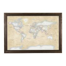 Push Pin Travel Maps Perfectly Pastel World with Solid Wood Brown Frame and Pins - 27.5 inches x 39.5 inches