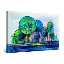 "Startonight Canvas Wall Art Abstract Rainbow Trees Painting Blue Green Framed 32"" x 48"""