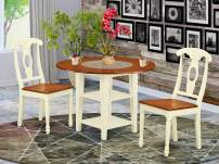 3 Piece Sudbury Set With One Round Dinette Table And Two Dinette Chairs With Wood Seat In A Elegant Buttermilk and Cherry Finish.