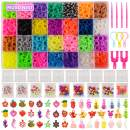 11,860+ Rubber Bands Refill Loom Set: 11,000 DIY Loom Bands 500 Clips, 210 Beads,, 46 Charms, Loom Bracelet Making Kit for Kids,Rainbow Bracelet Kit