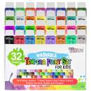 U.S. Art Supply 32 Color Children's Washable Tempera Paint Set - 2 Ounce Wide Mouth Bottles for Arts, Crafts and Posters