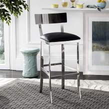 Safavieh American Home Collection Abby Glam Black and Stainless Steel 39-inch Bar Stool