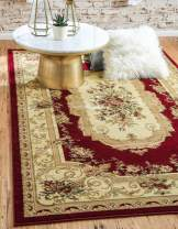 Unique Loom Versailles Collection Traditional Classic Red Area Rug (7' 0 x 10' 0)