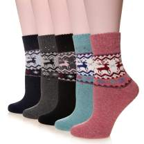 Velice Women's Wool Warm Socks Thick Heavy Thermal Fuzzy Winter Casual Crew Boot Socks-5 Pairs