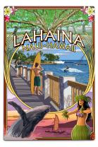 Lahaina, Maui, Hawaii - Town Scenes Montage 34685 (6x9 Aluminum Wall Sign, Wall Decor Ready to Hang)