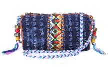 Ethnic Style Small Messenger Bag Denim Vintage Crossbody For Women Hobo Shoulder Bag Tie Dyeing Travel Mini Bucket Bag