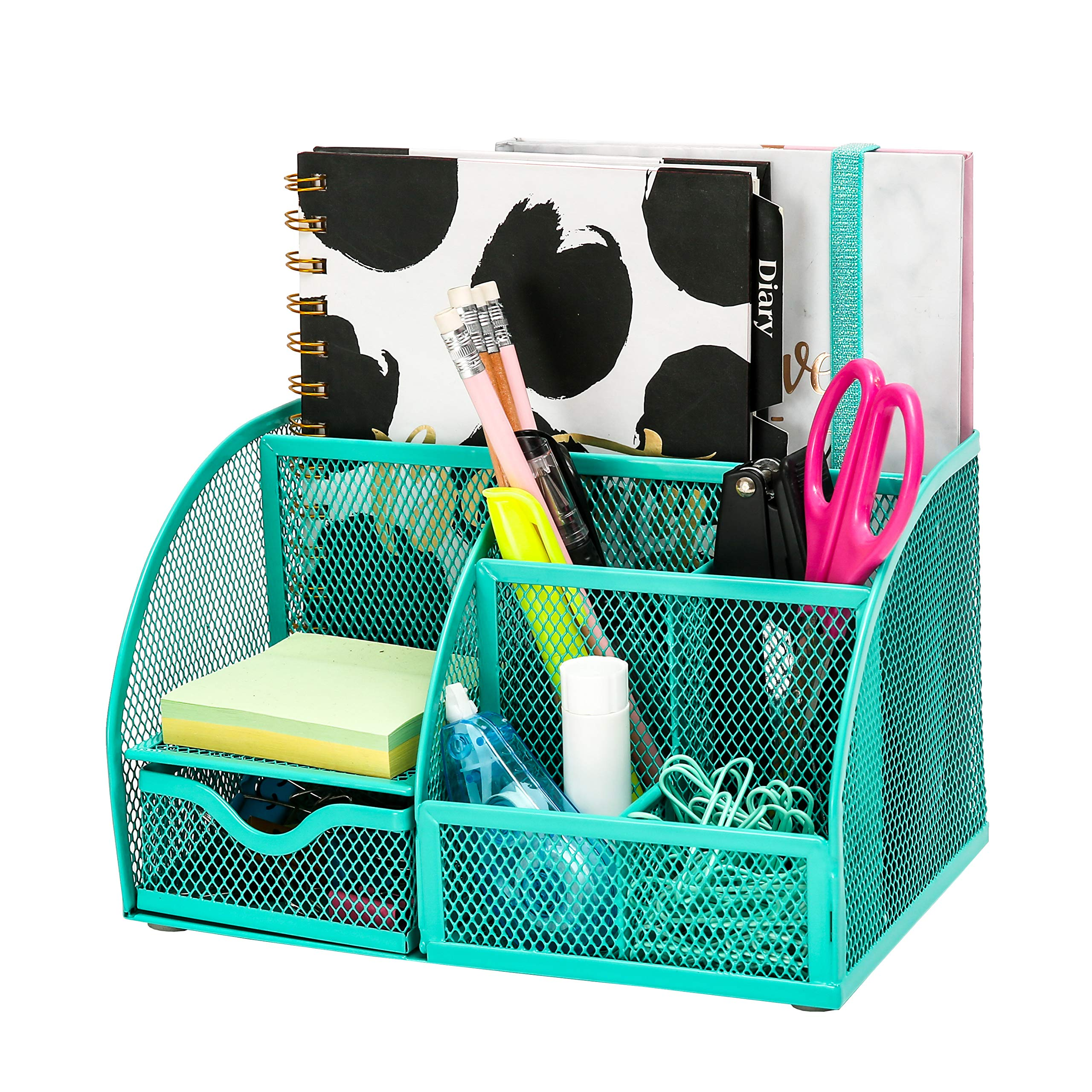 Exerz Mesh Desk Organizer Office with 7 Compartments + Drawer/Desk Tidy Candy/Pen Holder/Multifunctional Organizer Green Color (EX348-GRN)