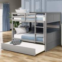 Merax Solid Wood Bunk Bed Detachable No Box Spring Needed Trundle, Full/Full, Gray