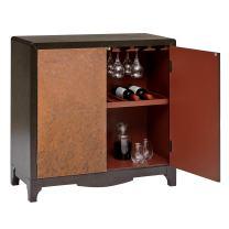 """Pulaski Industrial Adjustable Shelf 2 Door Copper Sheet Wine Bar Cabinet, 36"""" x 15"""" x 36"""""""