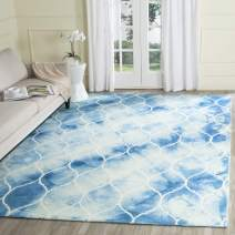 Safavieh Dip Dye Collection DDY685G Handmade Moroccan Ogee Geometric Watercolor Blue and Ivory Wool Area Rug (2' x 3')