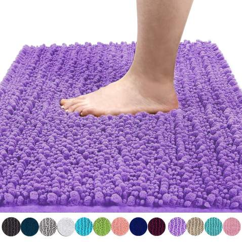 Yimobra Original Luxury Shaggy Bath Mat, Soft and Cozy, Super Absorbent Water, Non-Slip, Machine-Washable, Thick Modern for Bathroom Bedroom (24 x 17 Inch, Lavender)