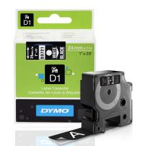 DYMO Standard D1 Labeling Tape for LabelManager Label Makers, White print on Black tape, 1'' W x 23' L, 1 cartridge (53721)