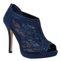 MVE Shoes Women's Lace Bridal High Heel Platform Peep Toe Shootie - Satin Lace Open Toe Cover Dress Pump - Lace High Heel Shootie with Flatback Crystals