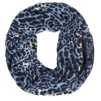 MissShorthair Women Leopard Print Infinity Scarf with Zipper Pocket, Travel Loop Scarf Wrap