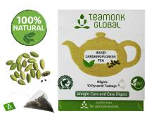 Teamonk Ikusie Cardamom Green Tea Bags - 10 Tea Bags | Cardamom Tea Bags for weight Loss | Slimming Tea Bags | 100 % Pure Natural Cardamom Tea | No Additives