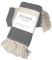 Sultana Luxury Linens - Turkish Hand Towels (Set of 4) | 100% Cotton | Eco-Friendly | Quick Dry | Hand, Tea, Kitchen, Hair, Spa, Face, Bath, Dish | Decorative Bathroom Towel | Peshkirs (Black)