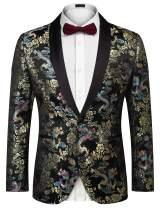 JINIDU Men's Stylish Floral Party Suit Jackets Fashion Slim Fit One-Button Blazer Dinner Tuxedo