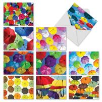 All Occasion 'Flying Umbrellas' Greeting Cards with Colorful Umbrellas in the Sky - 10 Note Cards with Envelopes 4 x 5.12 inch, Blank Stationery for Baby Showers, Birthdays, Thank You M2331OCB