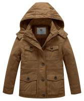 WenVen Boy's and Girl's Warm Sherpa Lined Parka Coat with Removable Hood