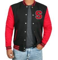 Black and Red Letterman Jacket Men - High School Varsity Mens Baseball Jacket