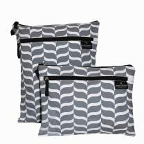 The Fine Living Company USA - Wet and Dry Bag - Diaper Bag - 2 Pockets - Twin Pack - 2 Sizes - PEVA Lined