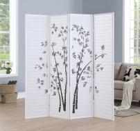 Roundhill Bamboo Print 4-Panel Framed Room Screen/Divider, white