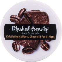 Masked Beauty Exfoliating Coffee and Dark Chocolate Mask Rinse-Off Facial Mask for Smoothing and Exfoliating Skin, 3.38 oz. Tub
