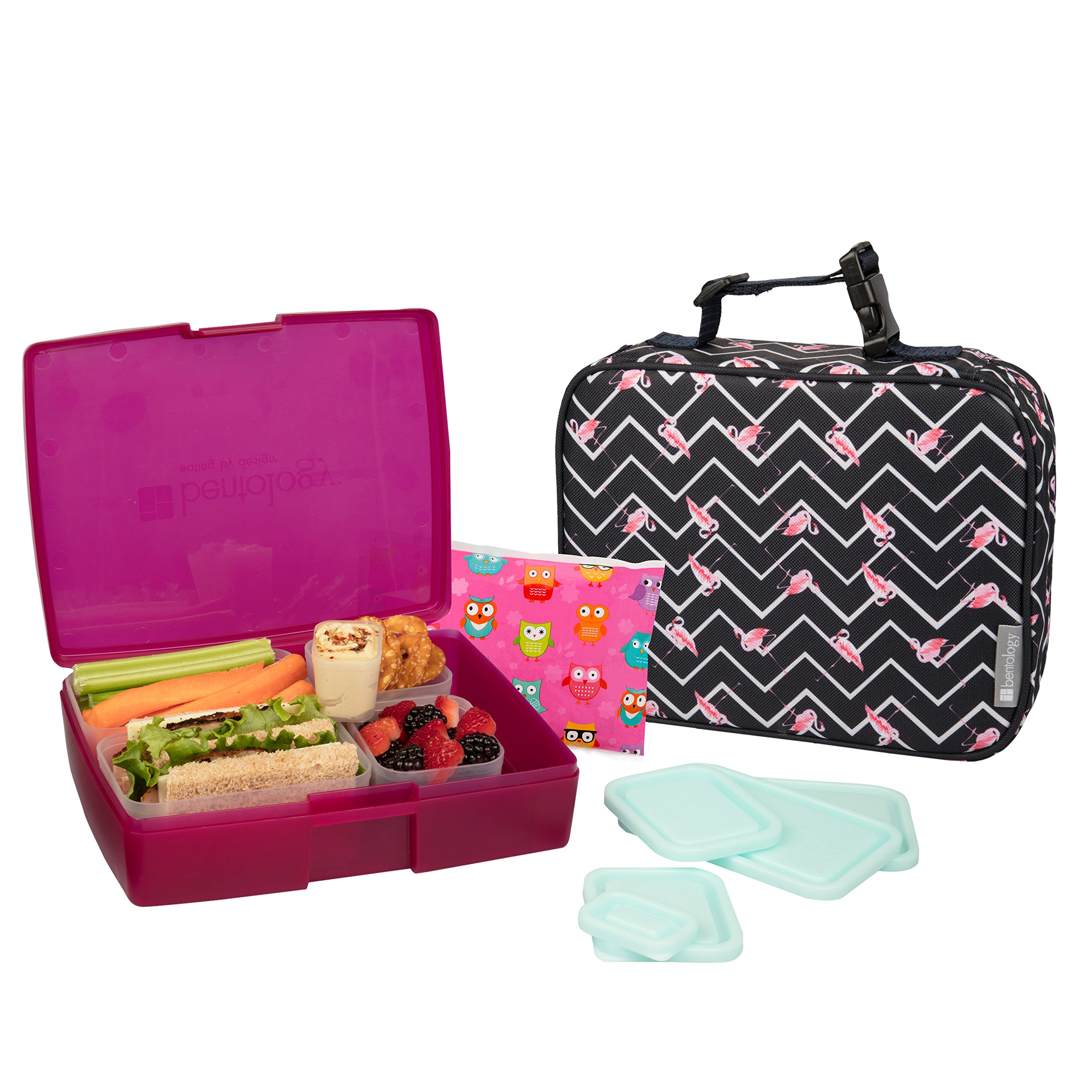 Bentology Lunch Bag and Box Set for Kids - Girls Insulated Lunchbox Tote, Bento Box, 5 Containers and Ice Pack - 9 Pieces - Flamingo