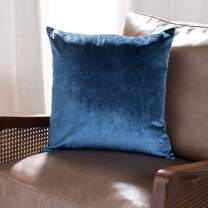 "Safavieh Kelsa 18-inch Blue Velvet Decorative Throw Pillow, 1' 6"" Square"