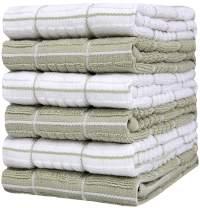 "Bumble Towels 6PK Multi Weave Yarn Dyed Weft Insert K.T (Wave Window Pane Neg+ Positive), 16""x26"", 3.10 lbs/dzn (Sage)"
