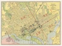 Historical 1925 Rand McNally Map or Plan of Washington D.C. -18 x 24 Fine Art Print - Antique Vintage Map