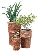 Vintiquewise Wicker Banana Rope Tall Floor Planter with Metal Pot (Set of 3)