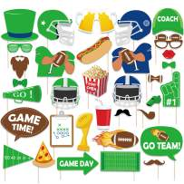 37 PCS Super Football Bowl Photo Booth Props Kit - Sport Game Day Party Supplies Decorations Favors
