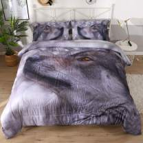 Beddinginn A Lone Silent Wolf in The Wilderness Tencel Cotton 3-Piece Comforter Sets