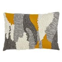 "SARO LIFESTYLE Aiko Collection Down Filled Boucle Yarn Appliqué Throw Pillow, 12"" x 18"", Multi"