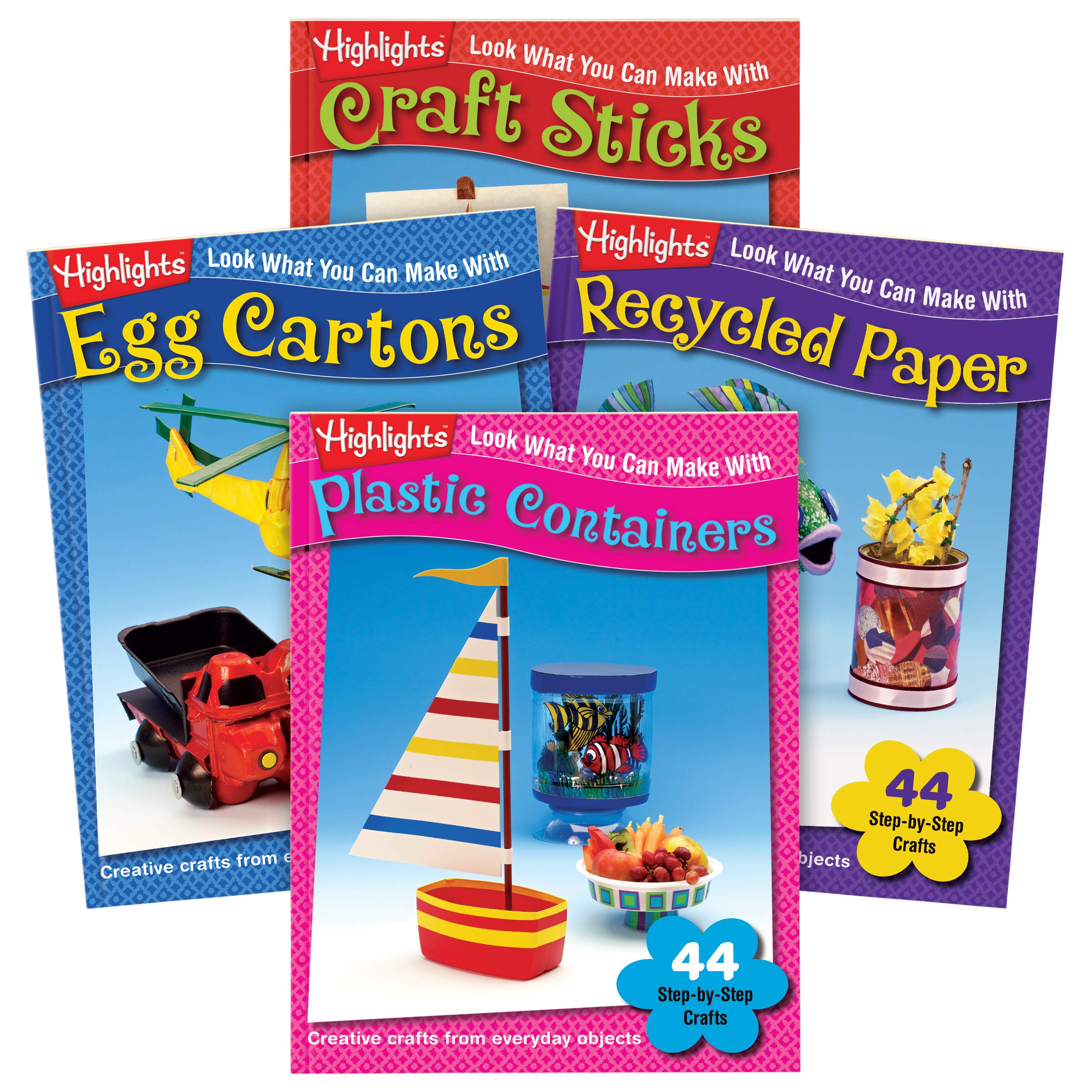 Highlights Look What You Can Make Craft 4-Book Set: Plastic Containers, Egg Cartons, Craft Sticks and Recycled Paper