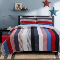 Cozy Line Home Fashions Axel Bedding Quilt Set, Nautical Navy Blue Red Striped Print 100% Cotton Reversible Coverlet Bedspread for Kids/Boy(Axel Stripe, King - 3 Piece)